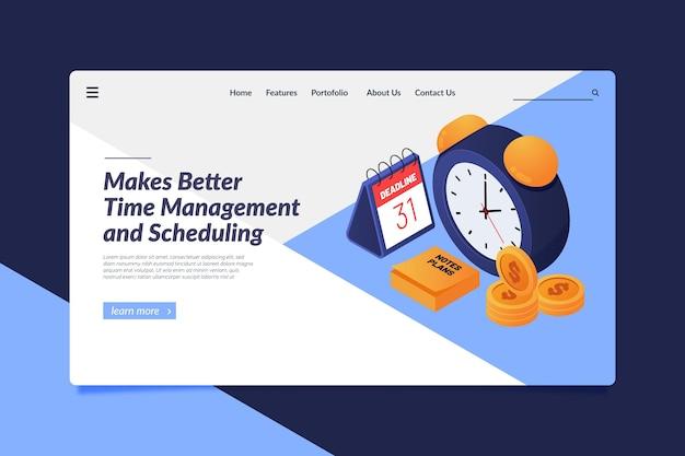 Modelo de página de destino de gerenciamento de tempo isométrico