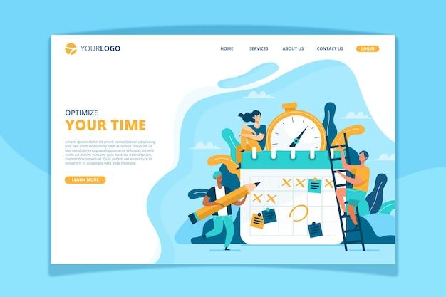 Modelo de página de destino de gerenciamento de tempo
