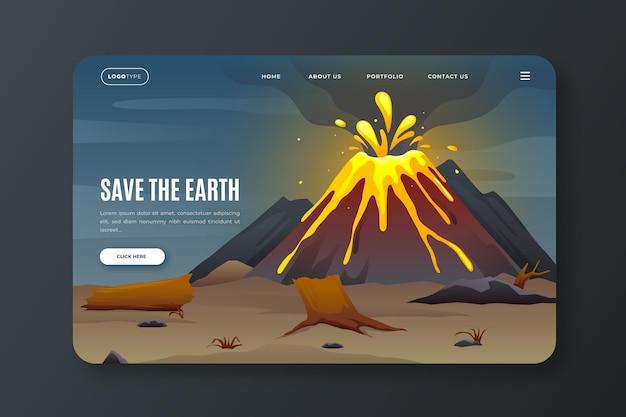 Modelo de página de destino de gradiente de mudança climática