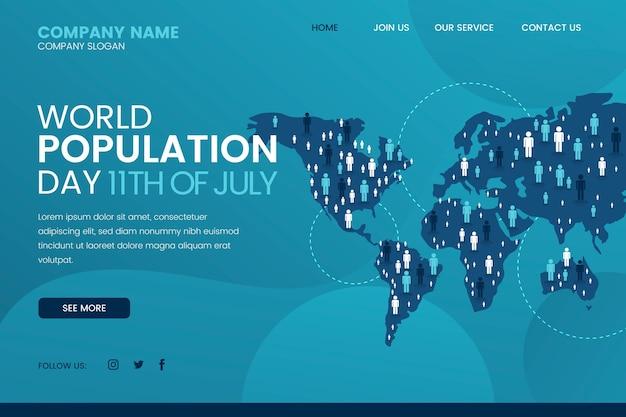 Modelo de página de destino de gradiente do dia da população mundial