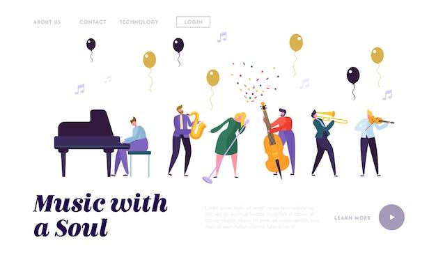 Modelo de página de destino de grupo de músicos e artistas