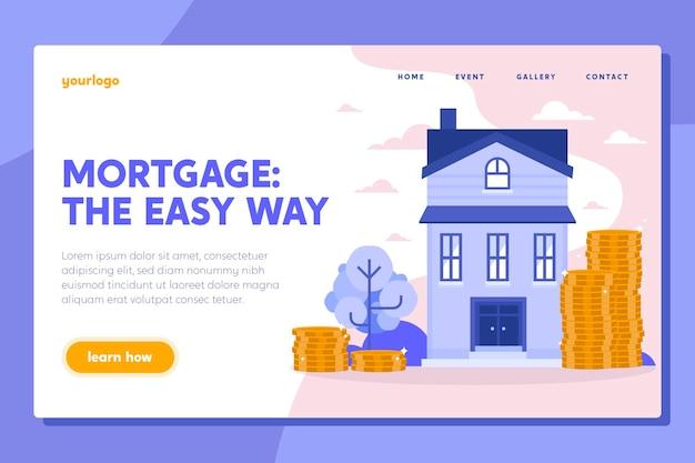 Modelo de página de destino de hipoteca de design plano