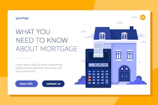 Modelo de página de destino de hipoteca
