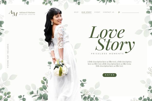 Modelo de página de destino de história de amor