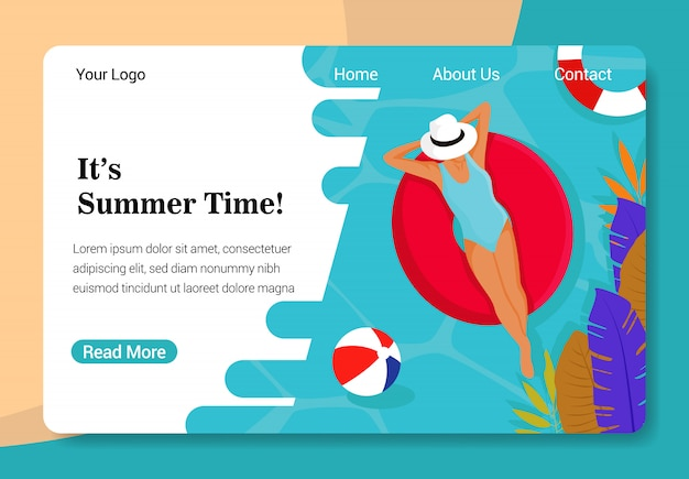 Modelo de página de destino de horário de verão