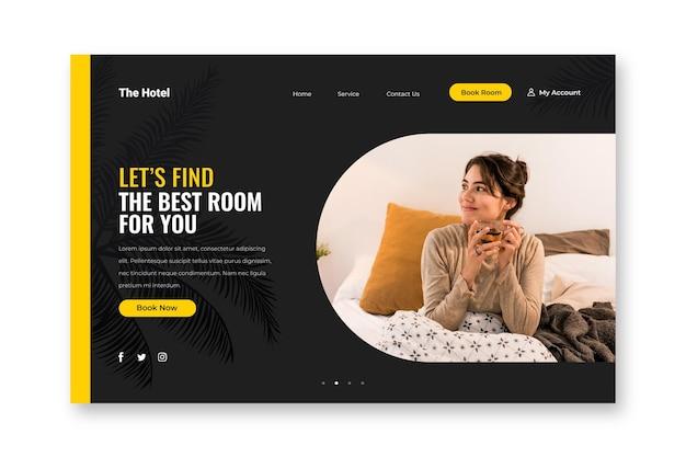 Modelo de página de destino de hotel com foto