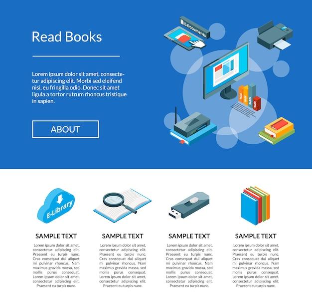 Modelo de página de destino de ícones de educação on-line isométrica
