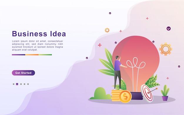 Modelo de página de destino de ideia de negócio em estilo de efeito gradiente