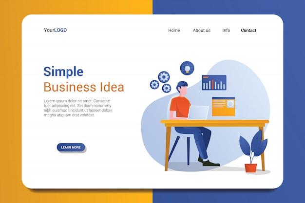 Modelo de página de destino de ideia de negócio simples