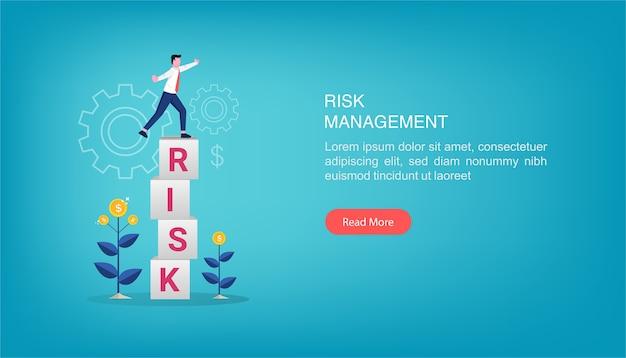 Modelo de página de destino de ilustração de gerenciamento de risco.