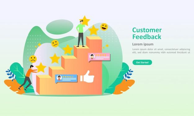 Modelo de página de destino de ilustração em vetor feedback dos clientes