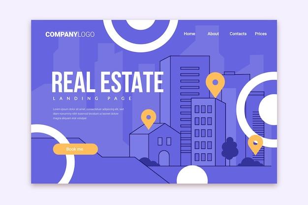 Modelo de página de destino de imóveis de design plano