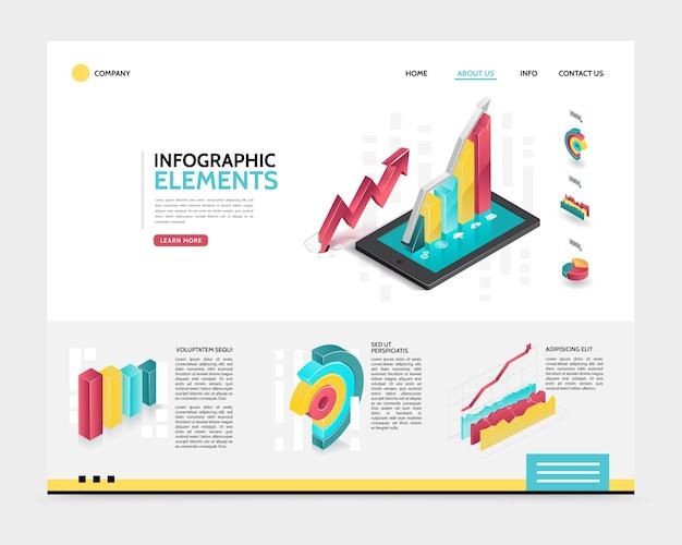 Modelo de página de destino de infográfico isométrico
