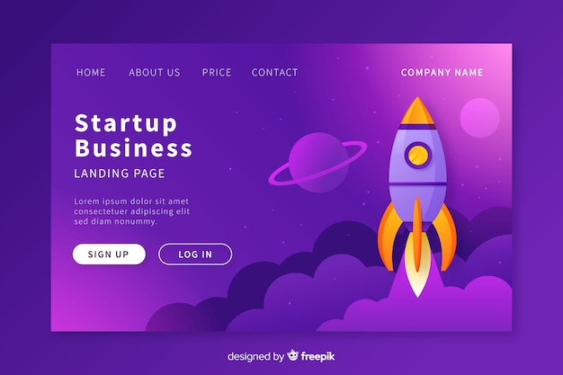 Modelo de página de destino de inicialização de negócios
