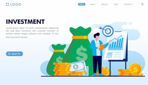 Modelo de página de destino de investimento