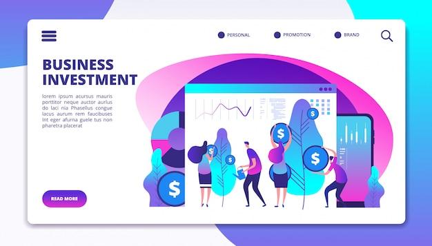 Modelo de página de destino de investimentos