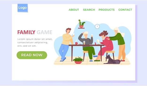 Modelo de página de destino de jogo familiar com pais e filhos felizes jogando jogo de tabuleiro