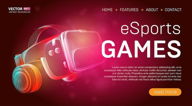 Modelo de página de destino de jogos esportivos com um fone de ouvido de realidade virtual com óculos e fones de ouvido ou capacete vr