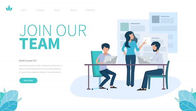 Modelo de página de destino de join our team