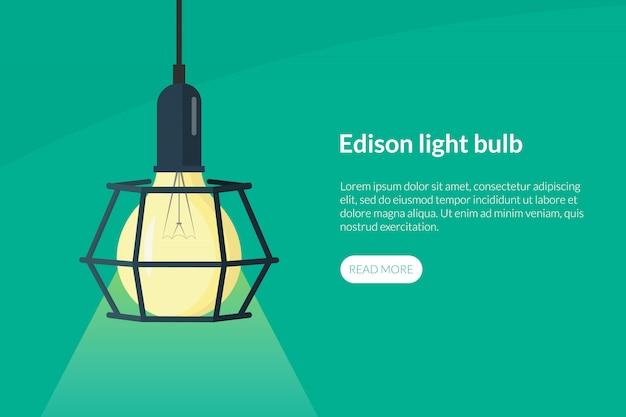 Modelo de página de destino de lâmpada edison retrô com texto e botão