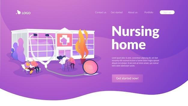 Modelo de página de destino de lar de idosos