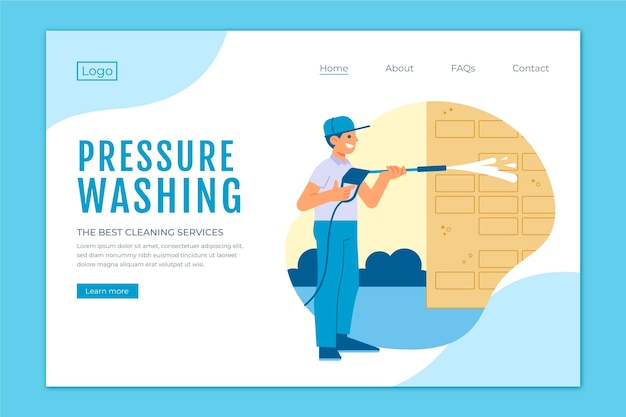 Modelo de página de destino de lavagem de pressão plana