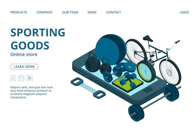 Modelo de página de destino de loja on-line de artigos esportivos. equipamento de esporte isométrico