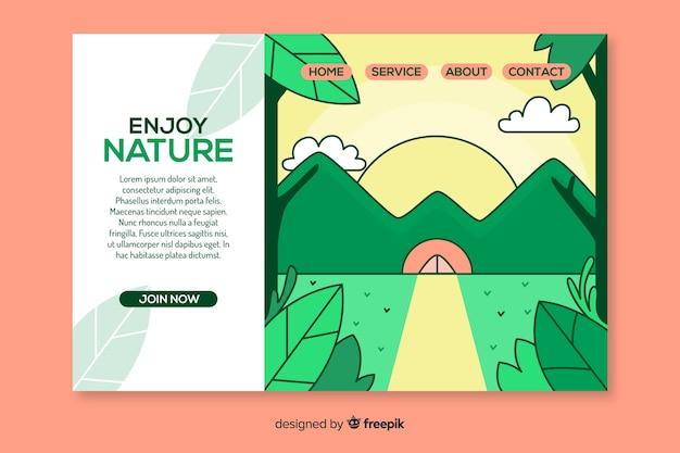 Modelo de página de destino de mão desenhada natureza