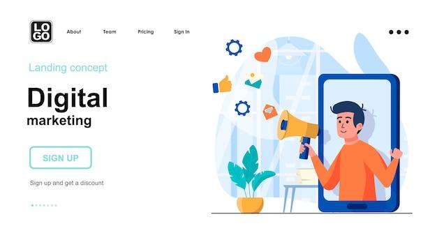 Modelo de página de destino de marketing digital com caráter de pessoas