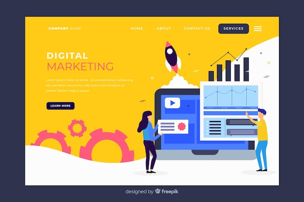 Modelo de página de destino de marketing digital