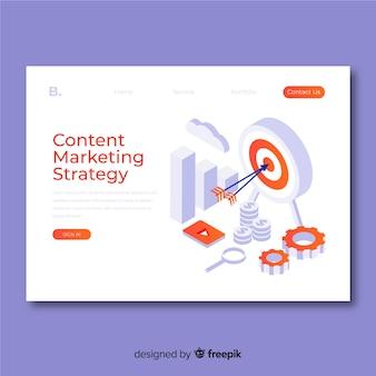 Modelo de página de destino de marketing isométrico