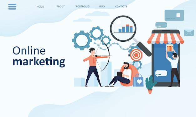 Modelo de página de destino de marketing on-line. conceito de design plano de tendência moderna de design de página da web para o site e site móvel