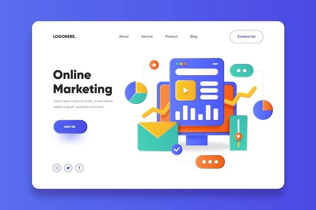 Modelo de página de destino de marketing online