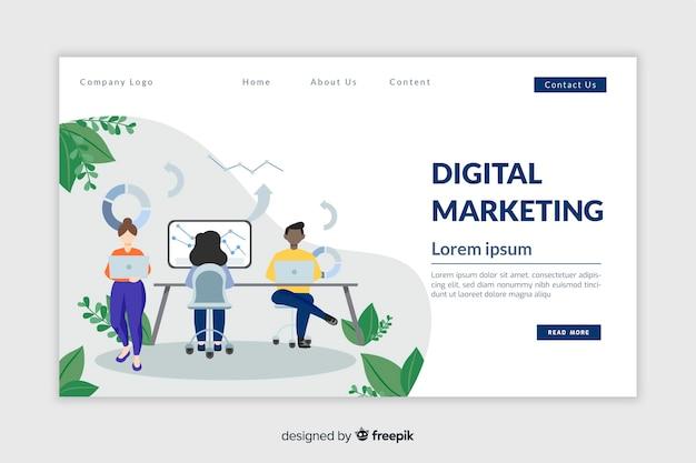 Modelo de página de destino de marketing plano