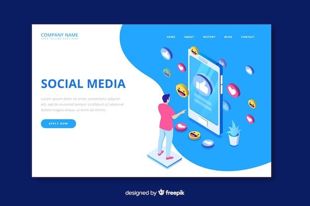 Modelo de página de destino de mídia social isométrica