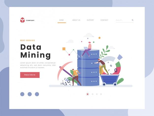 Modelo de página de destino de mineração de dados