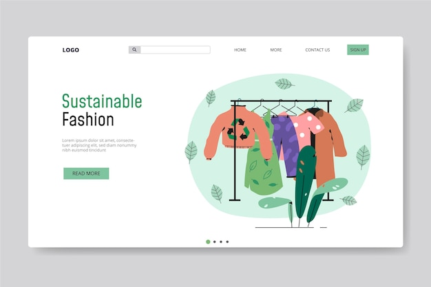Modelo de página de destino de moda sustentável desenhado à mão plana