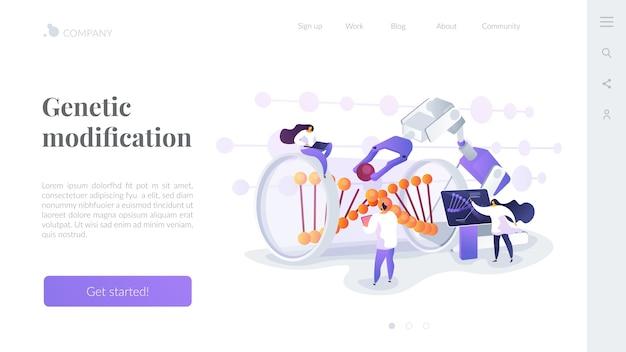 Modelo de página de destino de modificação genética Vetor grátis