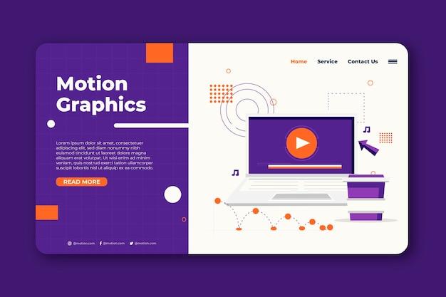 Modelo de página de destino de motiongraphics de design plano