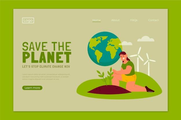 Modelo de página de destino de mudança climática desenhada à mão