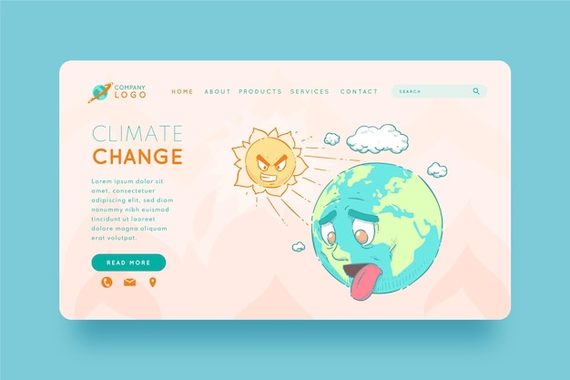 Modelo de página de destino de mudança climática desenhado à mão