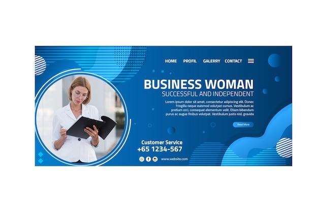 Modelo de página de destino de mulher de negócios