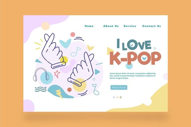 Modelo de página de destino de música k-pop com ilustrações