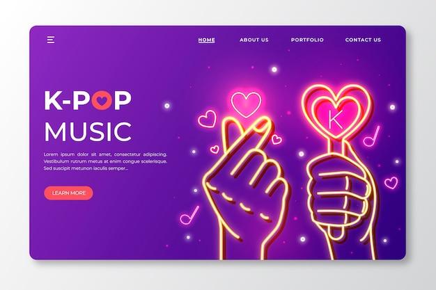 Modelo de página de destino de música k-pop