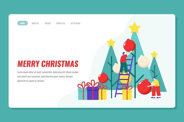 Modelo de página de destino de natal de design plano