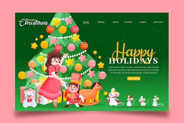 Modelo de página de destino de natal desenhado à mão com árvore de natal