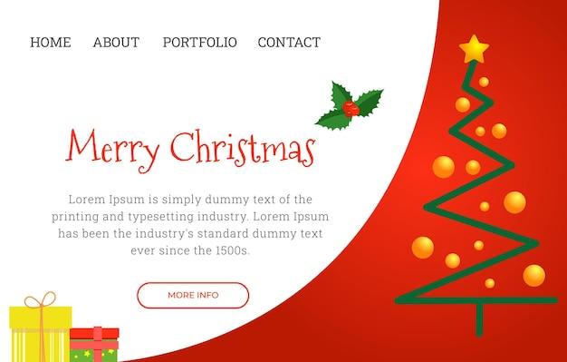 Modelo de página de destino de natal festivo com árvore de natal abstrata. ilustração vetorial.