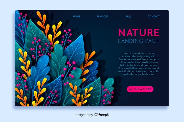 Modelo de página de destino de natureza abstrata