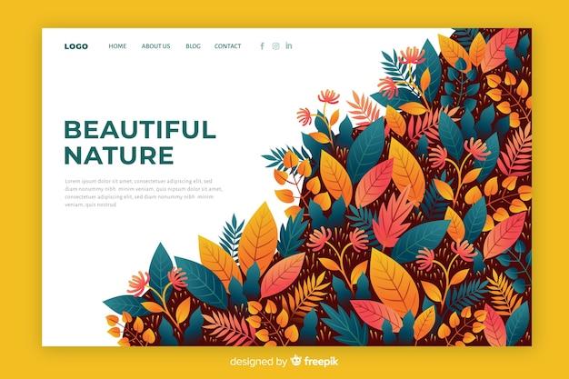 Modelo de página de destino de natureza colorida