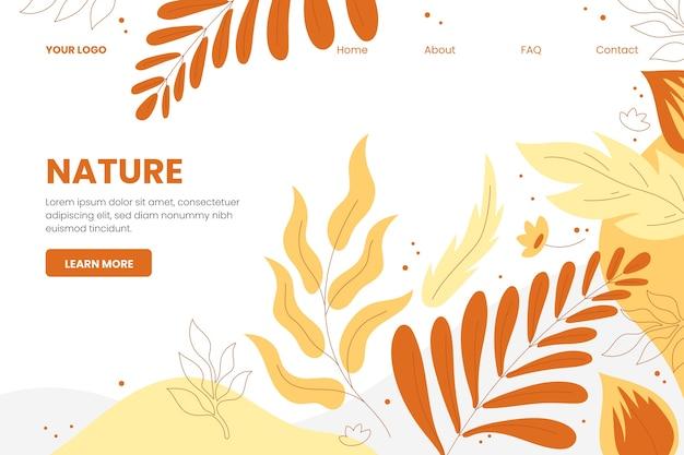 Modelo de página de destino de natureza desenhada de mão